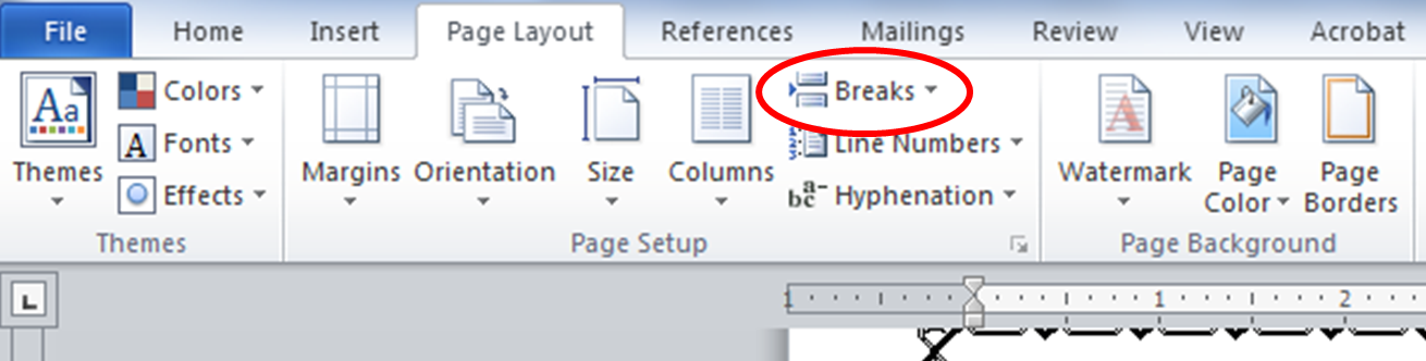 how to break page numbers in word